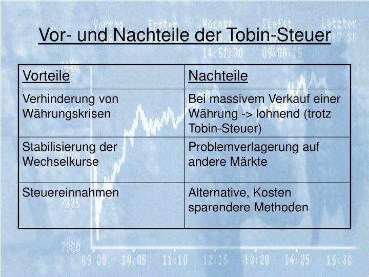 Vor- und Nachteile der Tobin-Steuer