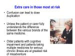 extra care in those most at risk