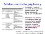 guidelines co morbidities polypharmacy