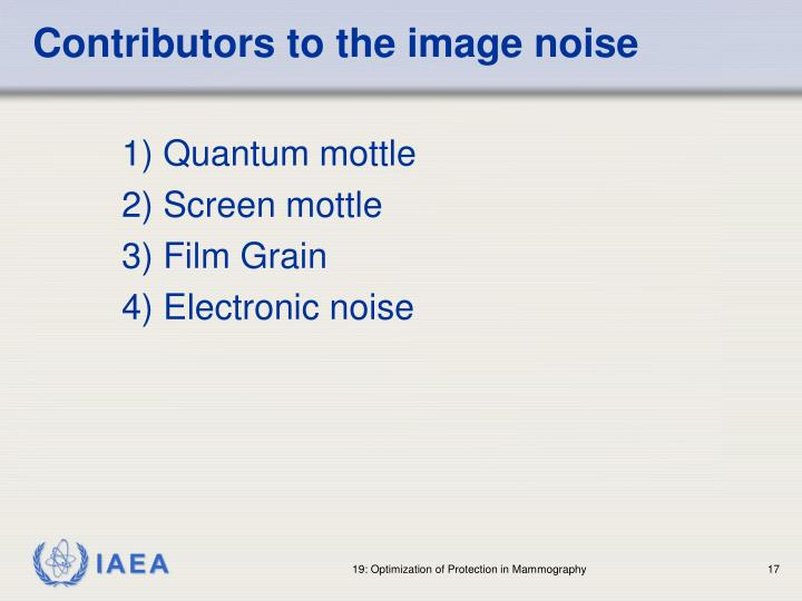 Contributors to the image noise