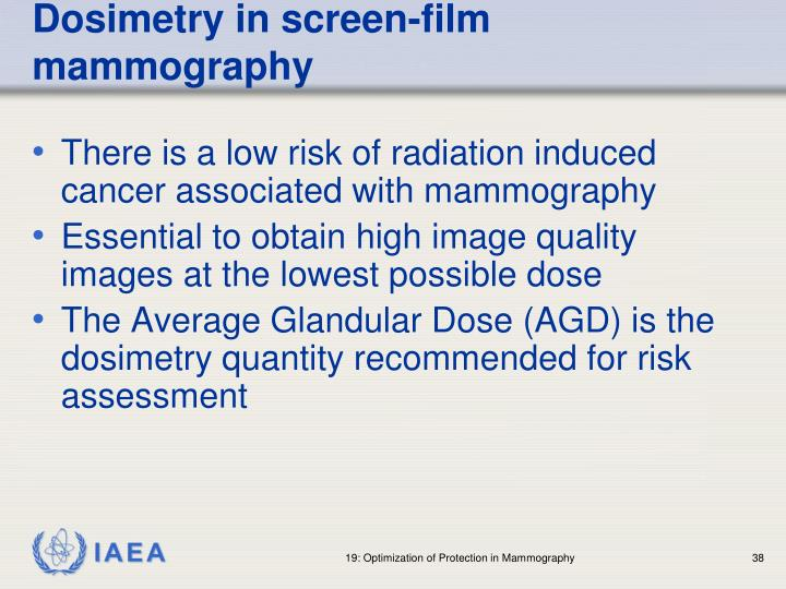 Dosimetry in screen-film mammography