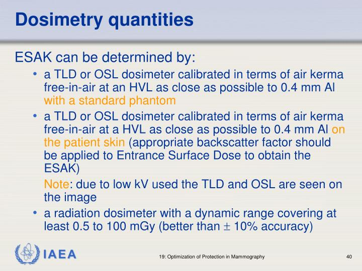 Dosimetry quantities