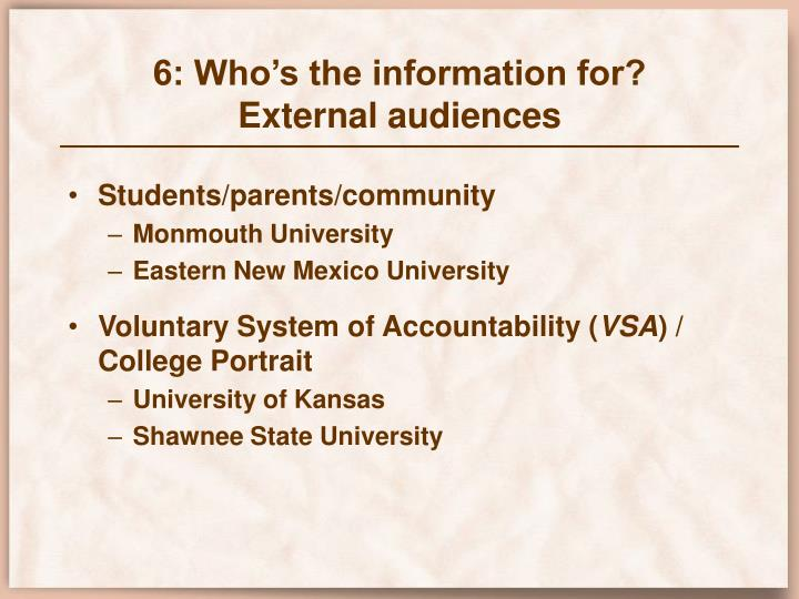 6: Who's the information for?