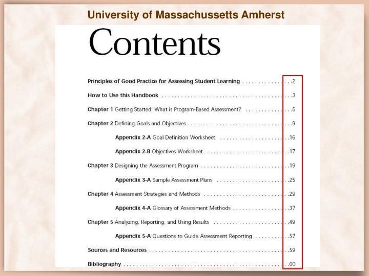 University of Massachussetts Amherst