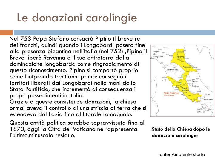 Le donazioni carolingie