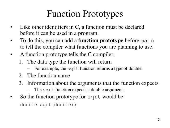 Function Prototypes