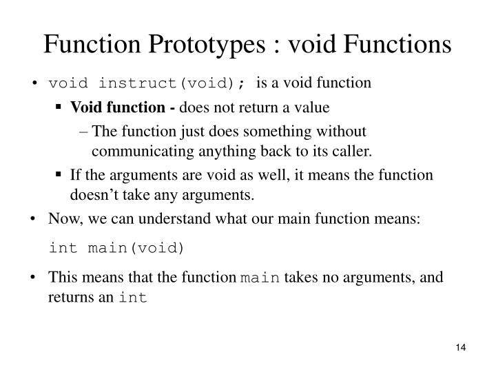 Function Prototypes : void Functions