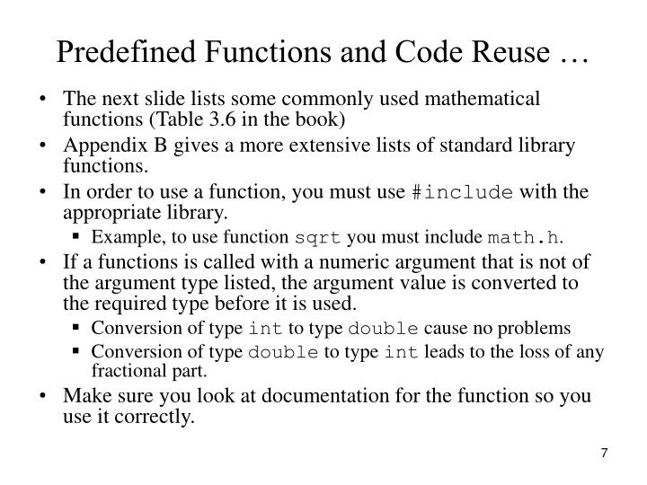 Predefined Functions and Code Reuse …