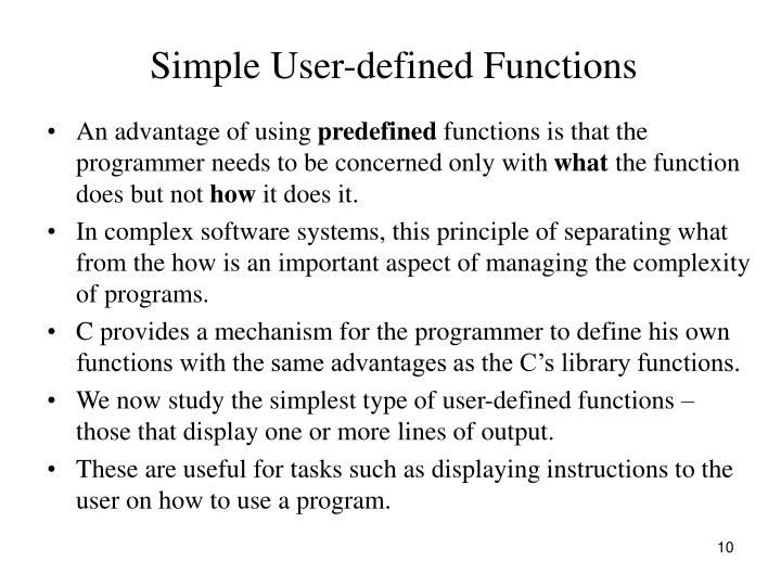 Simple User-defined Functions