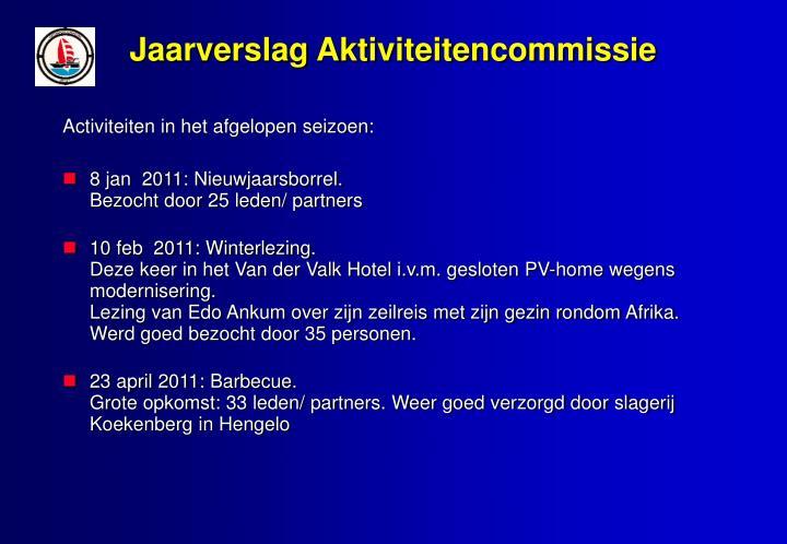 Jaarverslag Aktiviteitencommissie