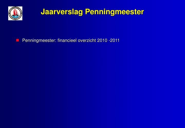 Jaarverslag Penningmeester