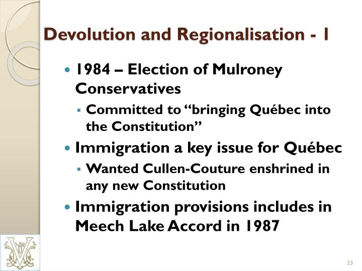 Devolution and Regionalisation - 1