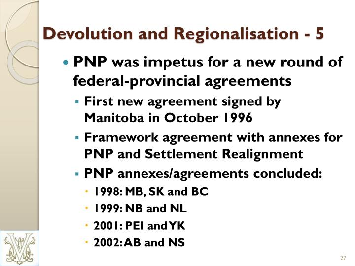 Devolution and Regionalisation - 5