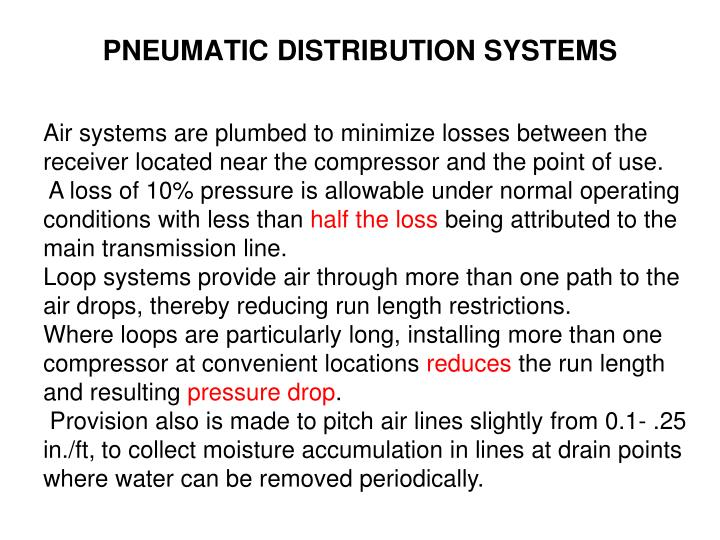 PNEUMATIC DISTRIBUTION SYSTEMS