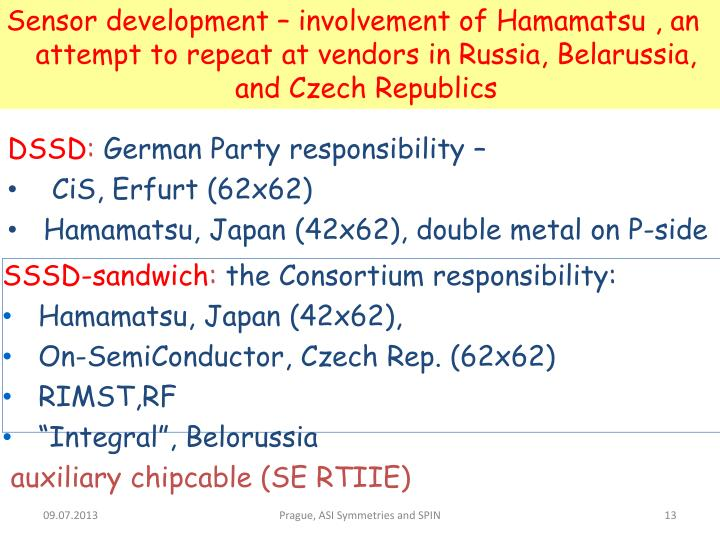 Sensor development – involvement of Hamamatsu , an attempt to repeat at vendors in Russia, Belarussia, and Czech Republics