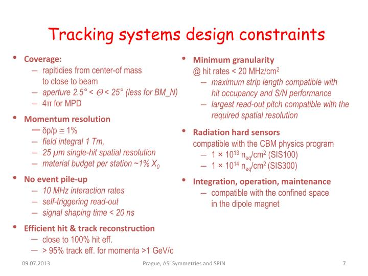 Tracking systems design constraints