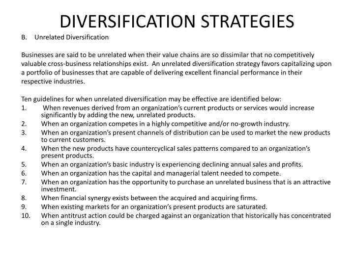 DIVERSIFICATION STRATEGIES