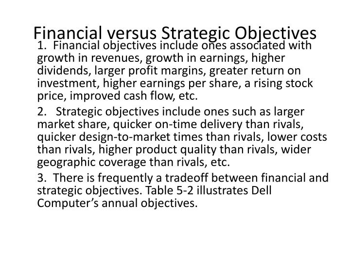 Financial versus strategic objectives