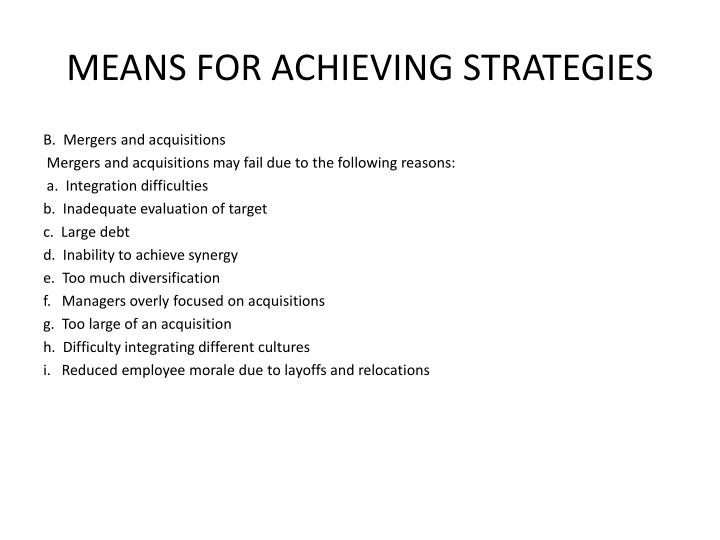 MEANS FOR ACHIEVING STRATEGIES