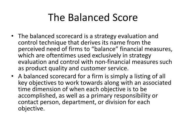 The Balanced Score