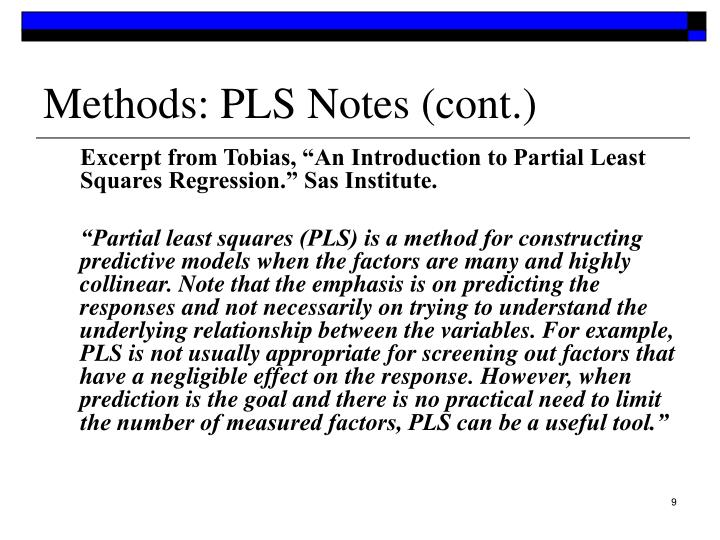 Methods: PLS Notes (cont.)