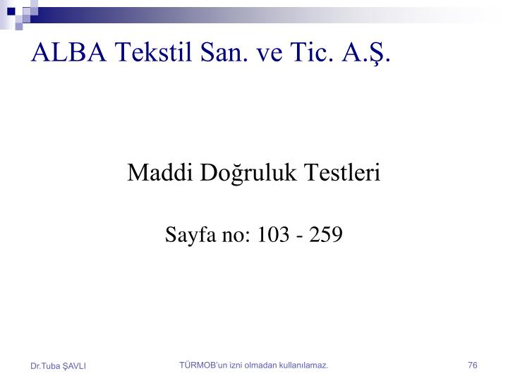 ALBA Tekstil San. ve Tic. A.Ş.