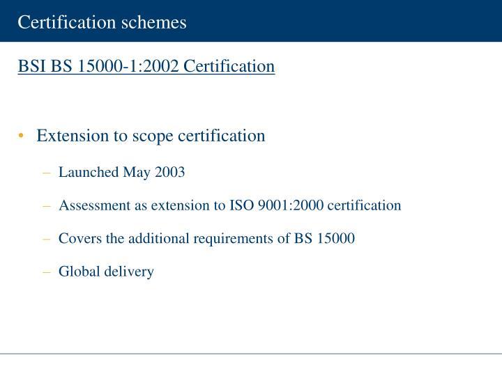 Certification schemes