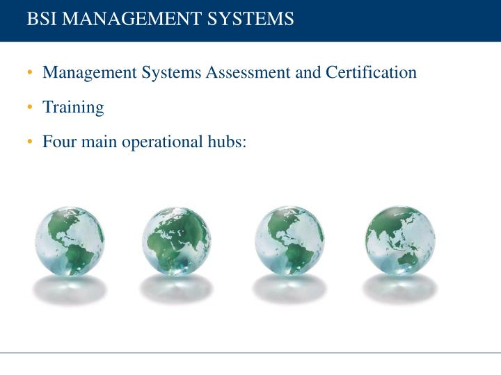 BSI MANAGEMENT SYSTEMS