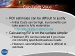 calculating value