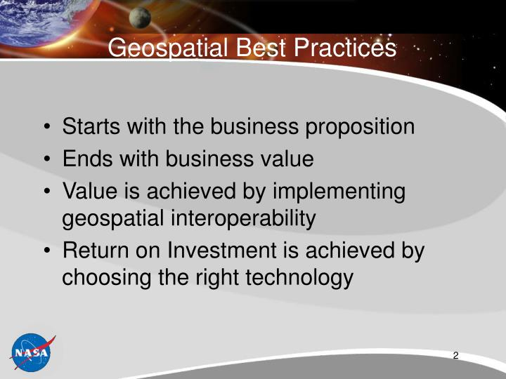 Geospatial Best Practices