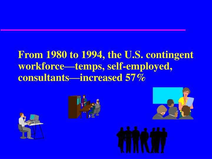 From 1980 to 1994, the U.S. contingent workforce—temps, self-employed, consultants—increased 57%