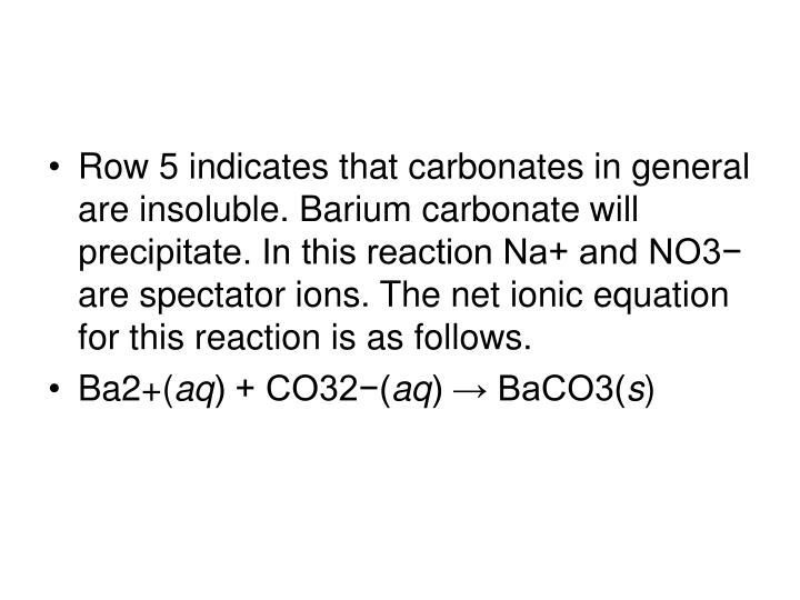 Row 5 indicates that carbonates in general are insoluble. Barium carbonate will precipitate. In this reaction Na+ and NO3− are spectator ions. The net ionic equation for this reaction is as follows.