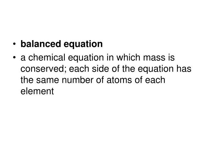 balanced equation