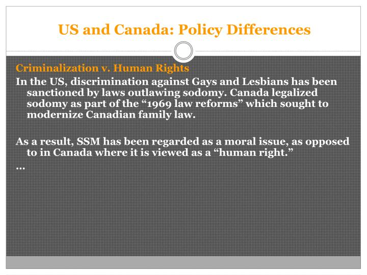 US and Canada: Policy Differences