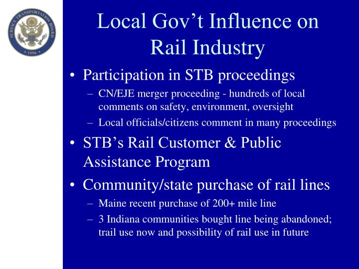 Local Gov't Influence on Rail Industry