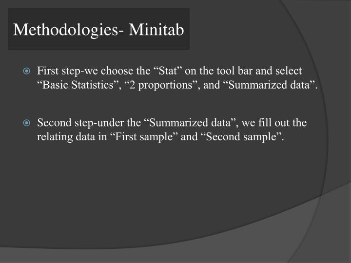 Methodologies- Minitab