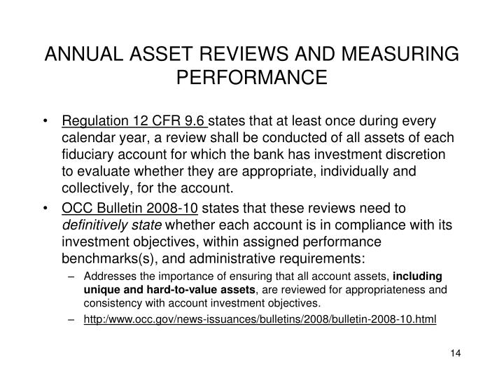 ANNUAL ASSET REVIEWS AND MEASURING PERFORMANCE