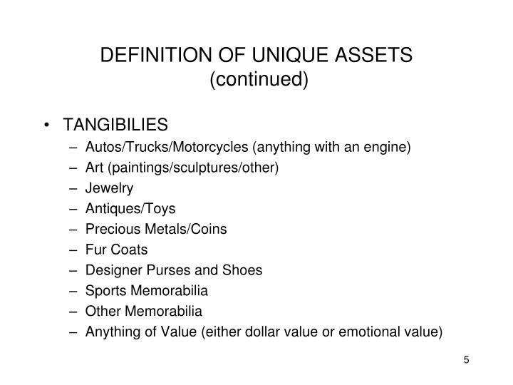 DEFINITION OF UNIQUE ASSETS