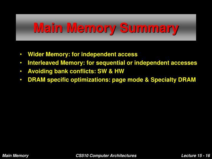 Main Memory Summary