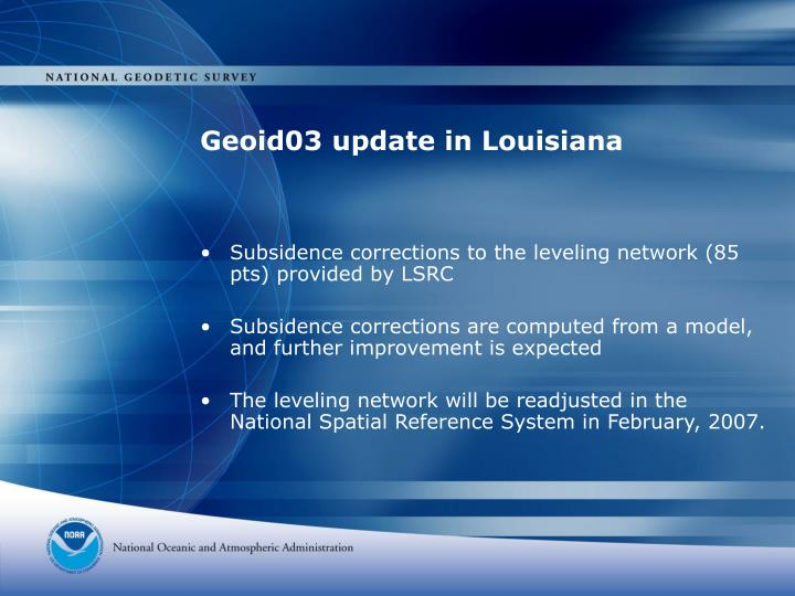 Geoid03 update in louisiana