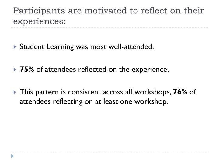Participants are motivated to reflect on their experiences: