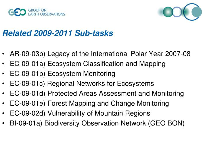 Related 2009-2011 Sub-tasks