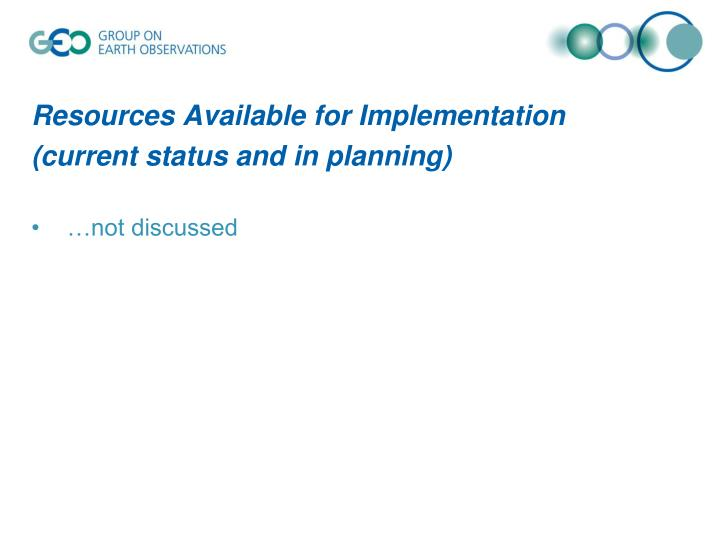 Resources Available for Implementation