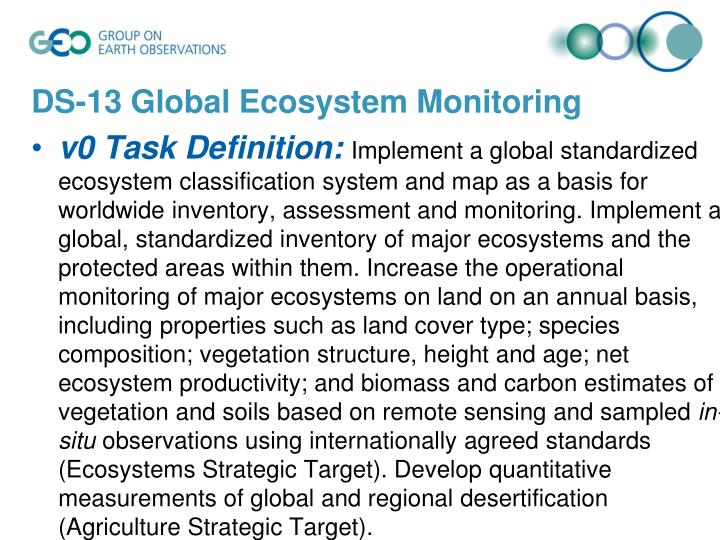 DS-13 Global Ecosystem Monitoring
