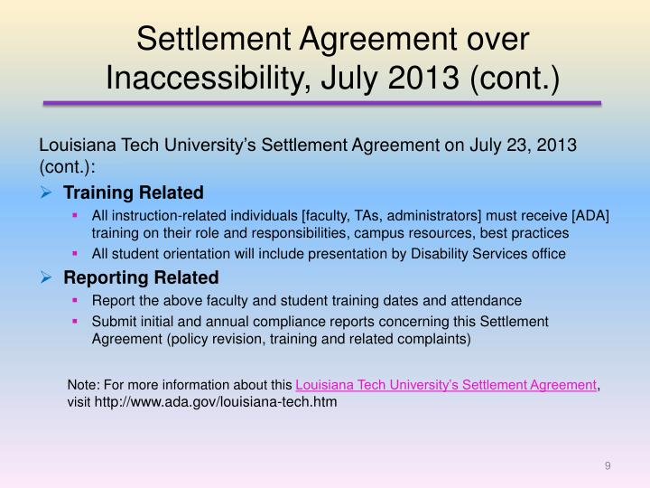 Settlement Agreement over Inaccessibility, July 2013 (cont.)