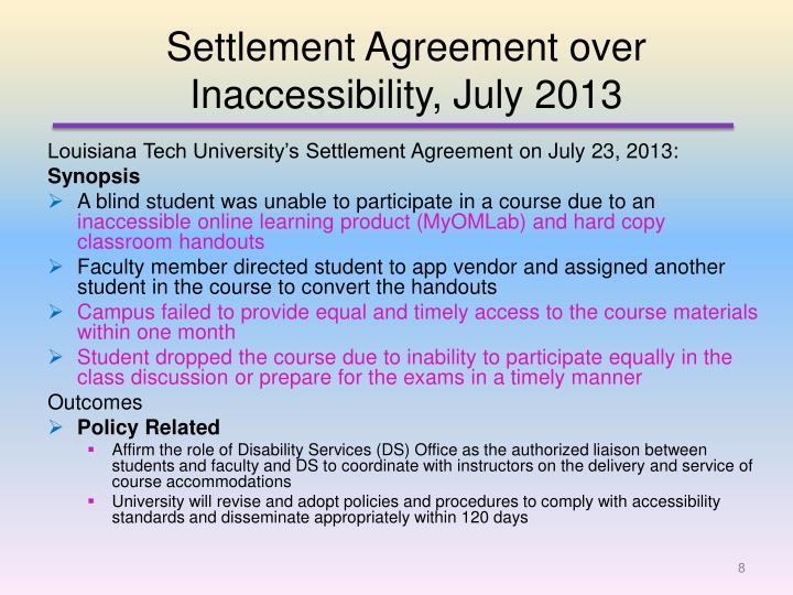 Settlement Agreement over Inaccessibility, July 2013