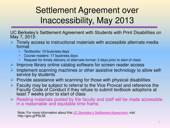 Settlement Agreement over Inaccessibility, May 2013