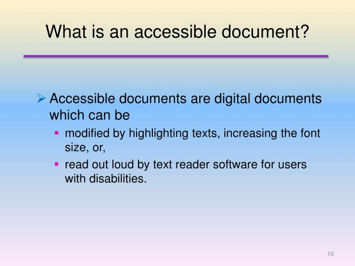 What is an accessible document?