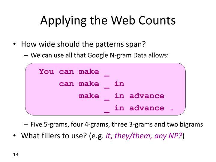 Applying the Web Counts