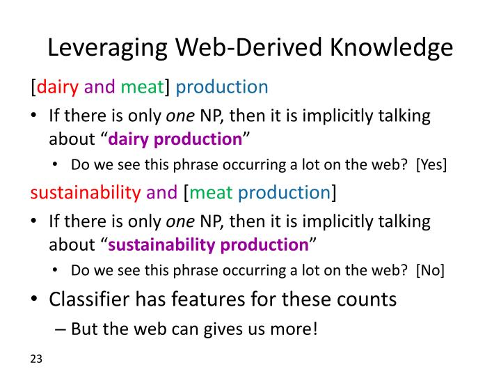 Leveraging Web-Derived Knowledge